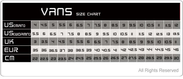 Vans footwear size chart also sizing charts  surfworld bundoran rh