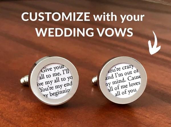 Cufflinks With Wedding Vows // Paper Anniversary By Anna V