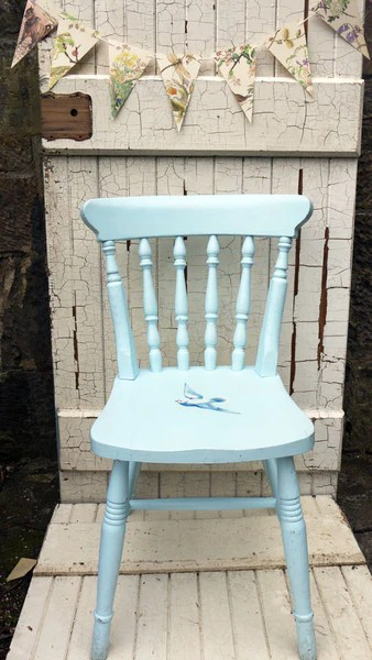 Upcycled baby blue wooden childs nursery chair with