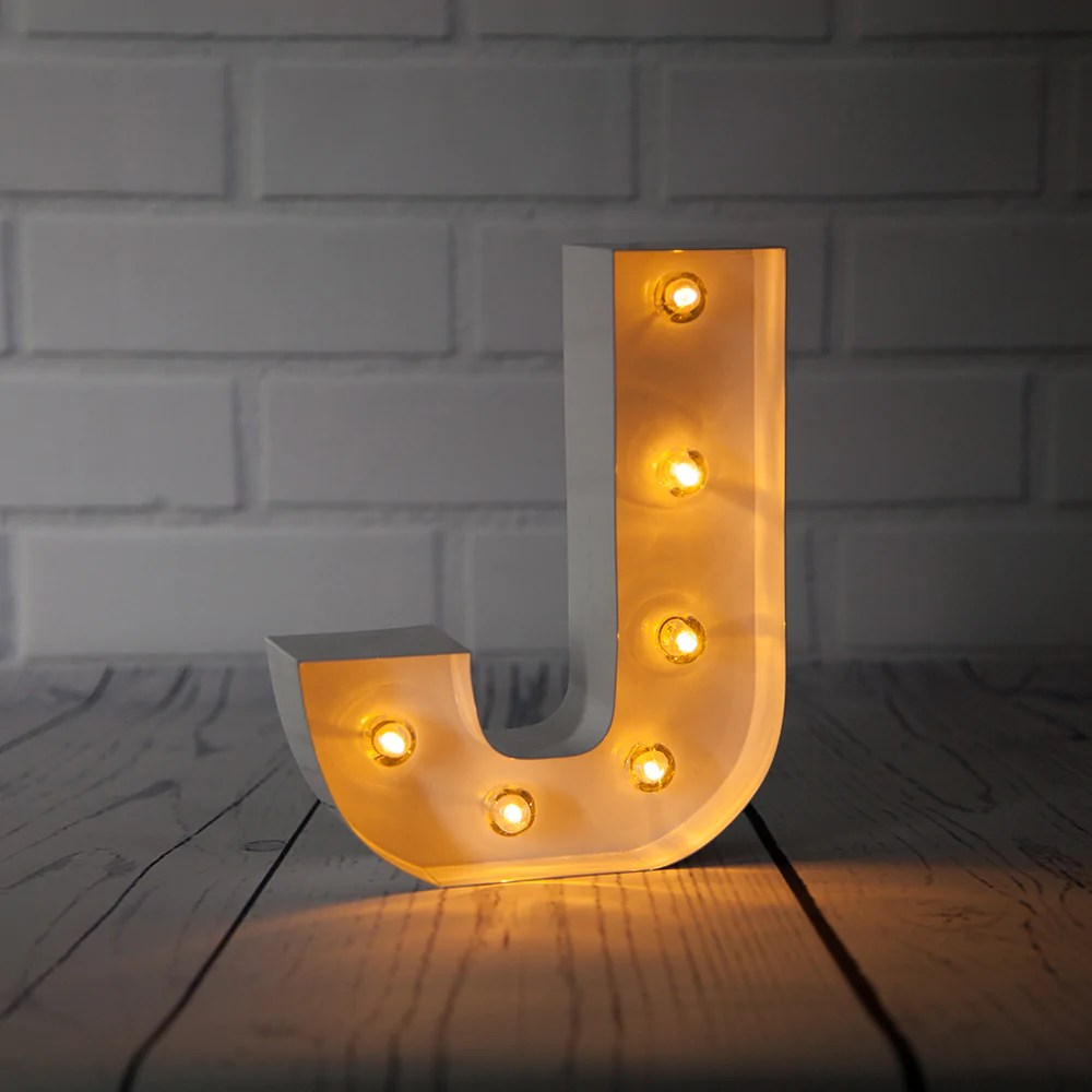 blowout white marquee light letter j led metal sign 8 inch battery operated w timer