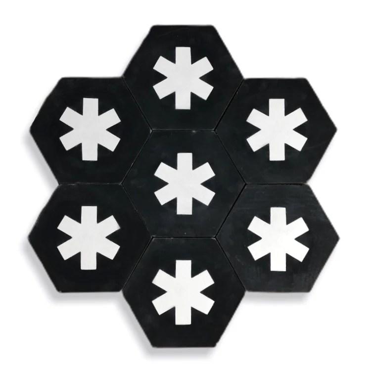 cruz hex tile black cement tile