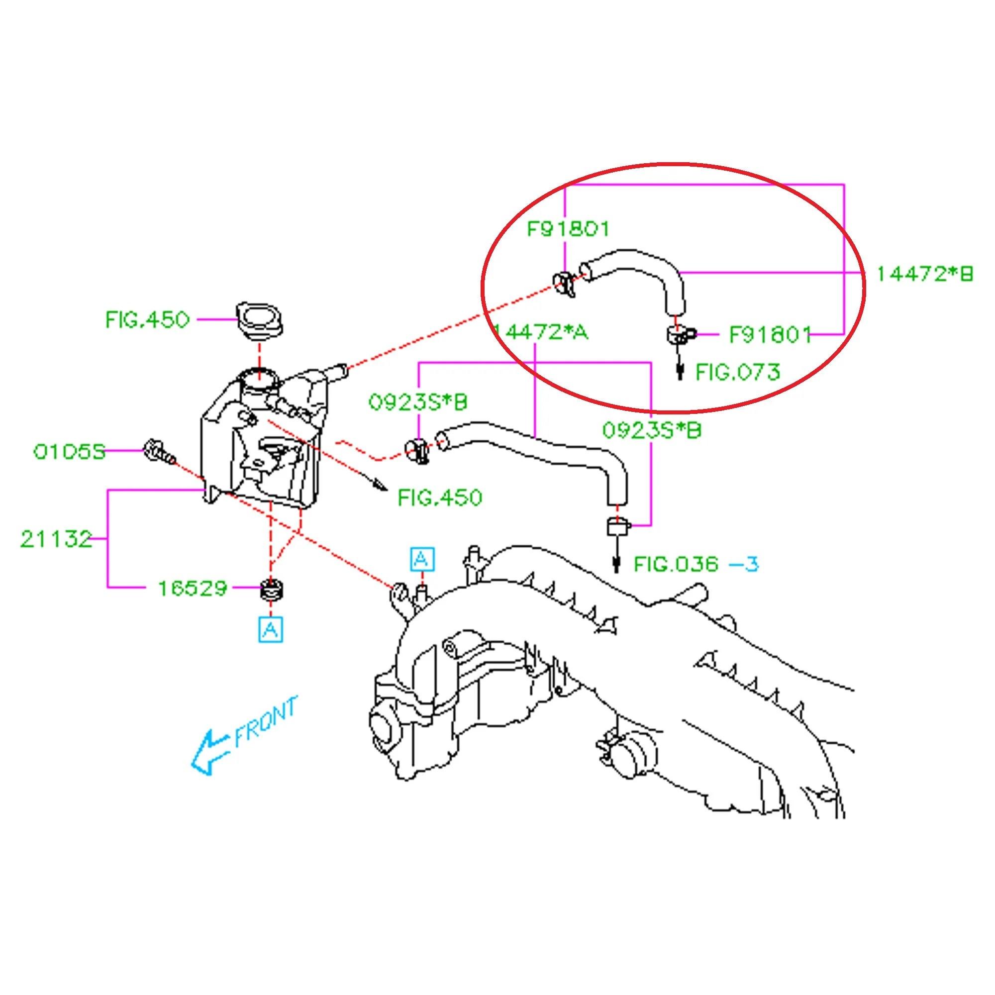 subaru 2008 2014 wrx turbo to expansion tank hose [ 2000 x 2000 Pixel ]