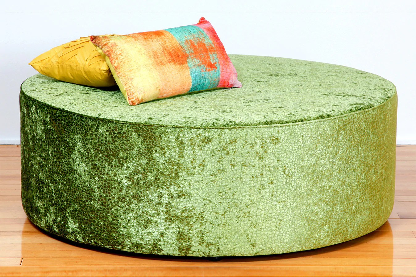 Oreo Large Round Upholstered Fabric or Leather Ottoman | Bespoke Furniture Gallery Perth