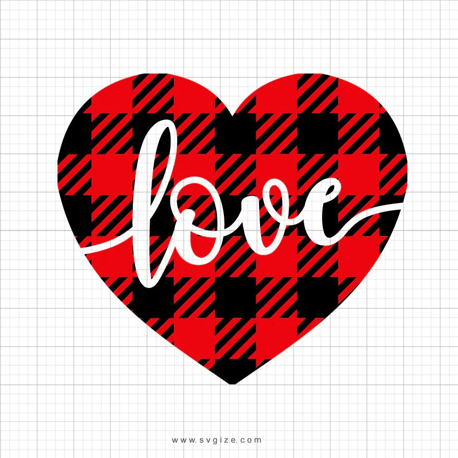 Download Buffalo Plaid Love Heart Svg Saying - SVGize