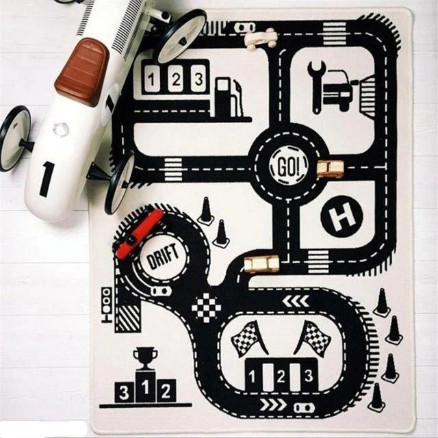 tapis circuit voiture noir et blanc