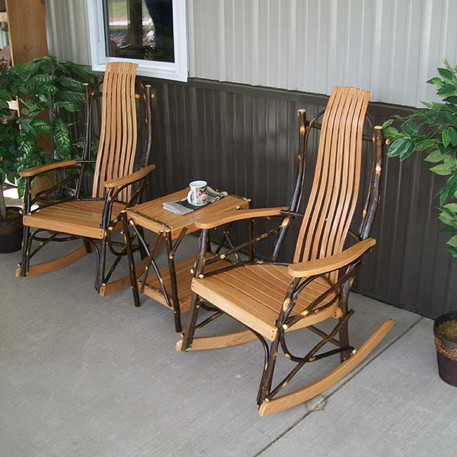 a l furniture co hickory 3pc rocking chair set