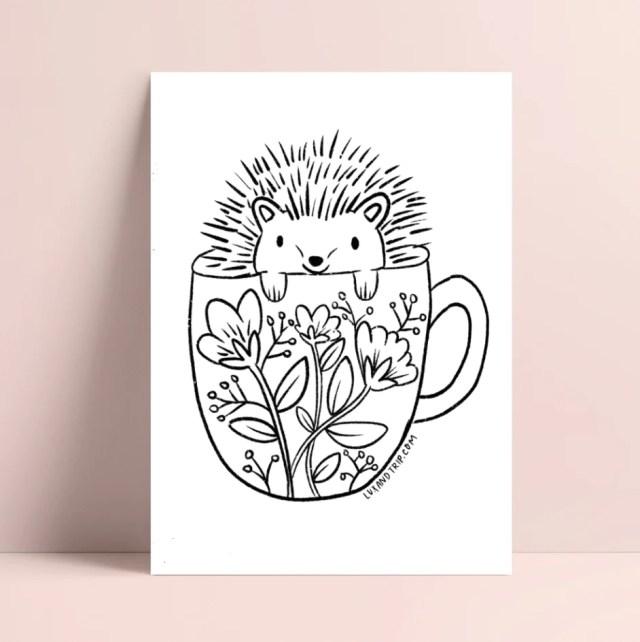 Printable Hedgehog Coloring Page