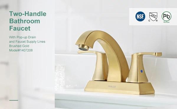 parlos 2 handles bathroom faucet brushed gold with pop up drain centerset faucets doris 1407208
