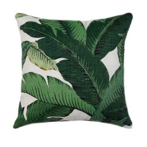 emerald green outdoor palm banana leaf pillow