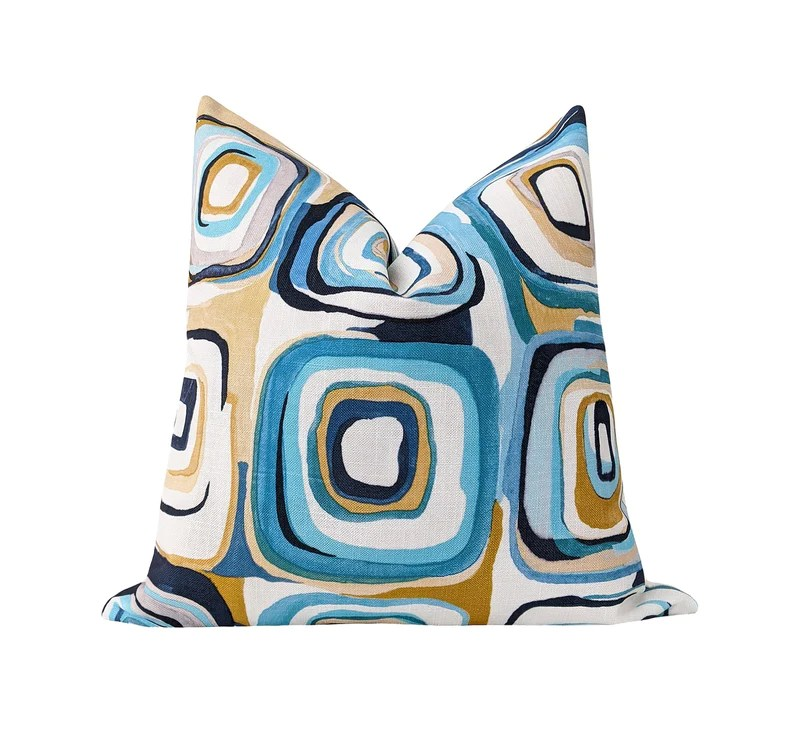 clearance turquoise blue and gold contemporary squares pillow