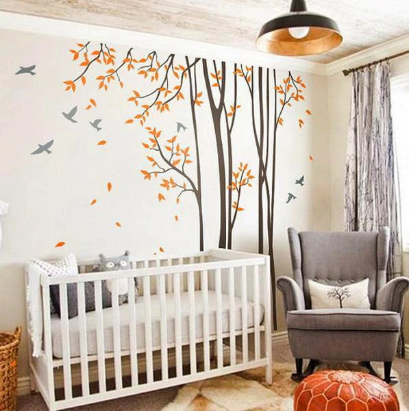 Baby Girl Nursery Removable Wallpaper Huge Birds Trees Forest Wall Arts Nursery Kids Decals Baby