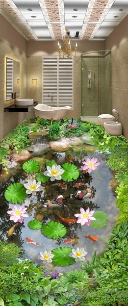Lilypad Lotus Fish Cobble Stone Duck Pond 00003 Floor