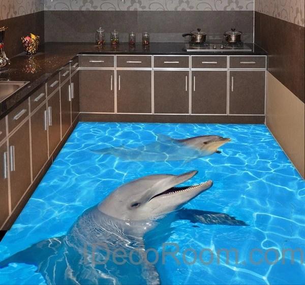 Ceiling Wallpaper 3d Dophin Twins Sea Ocean Water 00004 Floor Decals 3d