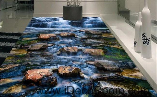 kitchen wall murals drawer repair waterfall stone steam brook 00025 floor decals 3d ...