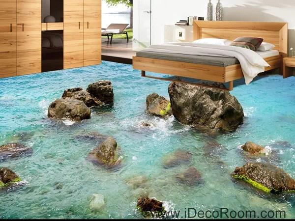 3d Office Wallpaper Sea Ocean Rocks 00040 Floor Decals 3d Wallpaper Wall Mural