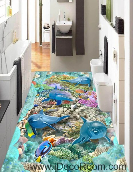 wall stickers living room old style furniture 4 dophins color fish coral seaweed blue ocean 00062 floor ...