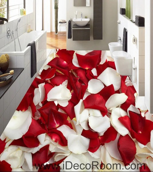 Red  White Rose Petal 00085 Floor Decals 3D Wallpaper