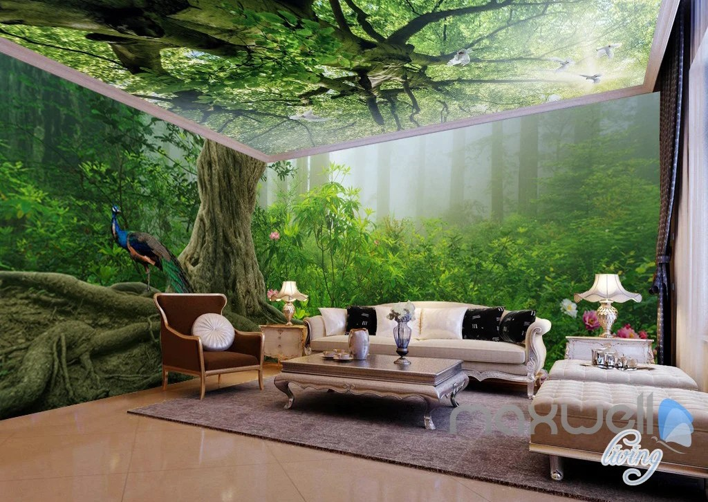 living room tree vastu for study table in 3d forest fog top ceiling entire wallpaper wall tap to expand
