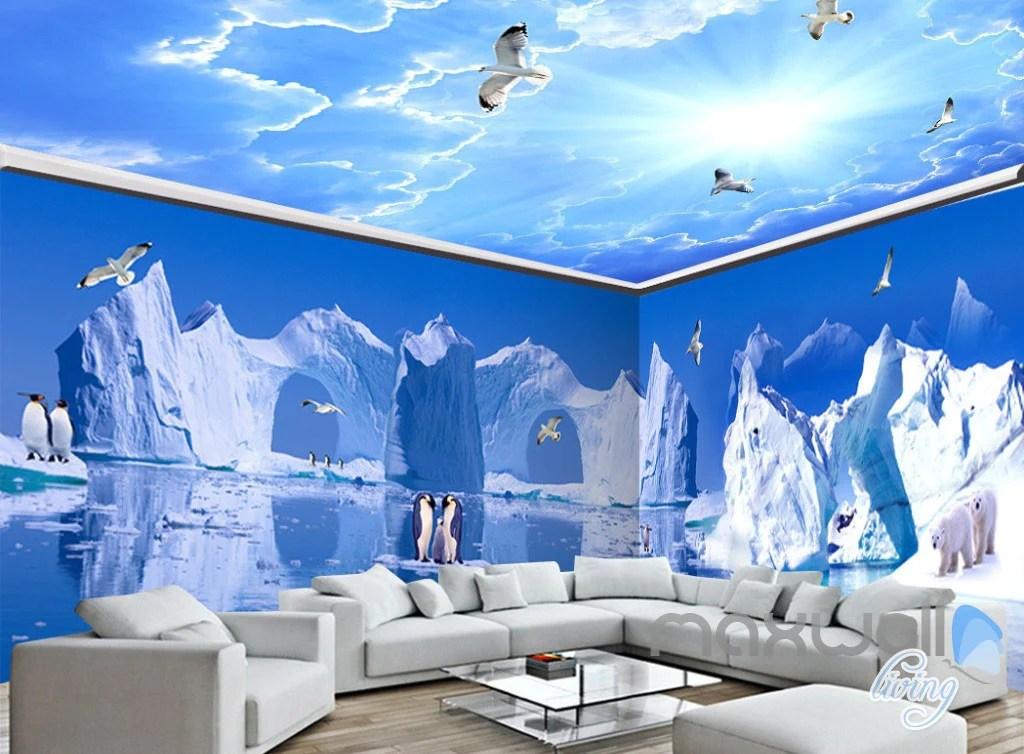 3D Iceberg Penguin Blue Sky Ceiling Entire Living Room