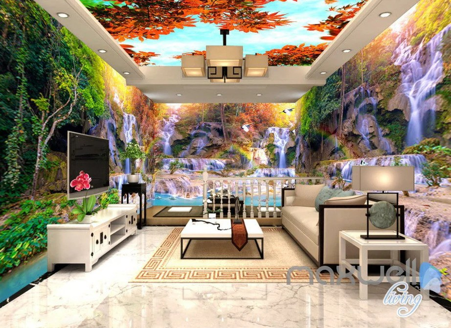 living room tree dream rooms 3d maple ceiling waterfall entire wallpaper wall tap to expand