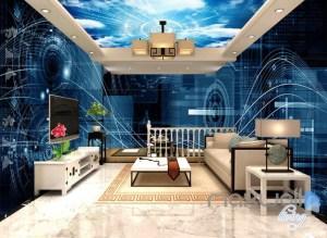 office 3d digital cyber math wall science data decor mural idcqw entire murals tweet
