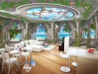 3D Arch Window Ocean View Sky Ceiling Wall Murals ...