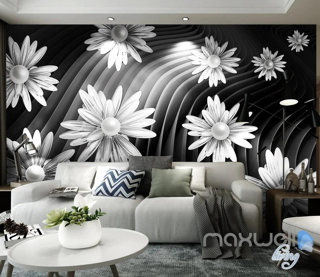 113D Daisy Flowers Modern 113D Wall Paper Mural Art Print Business Office Decor  IDCWP-113DB-00001138