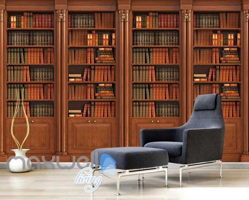 Wooden Old Library Stands With Books Art Wall Murals
