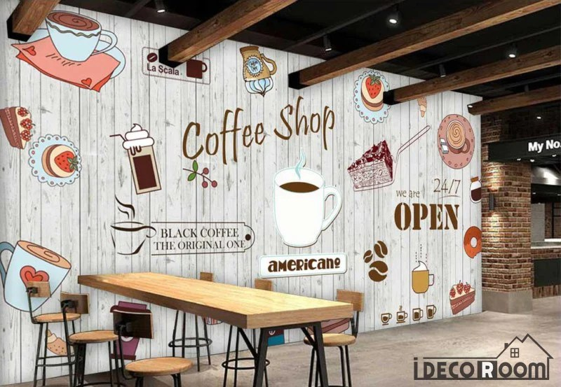 White Wooden Wall Graphic Design Coffee Shop Restaurant