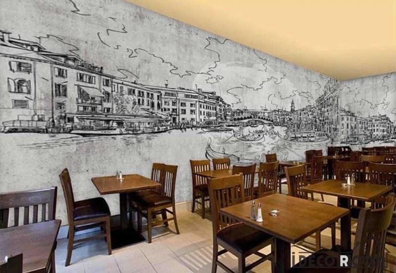 Drawing Venice On Wall Restaurant Art Wall Murals