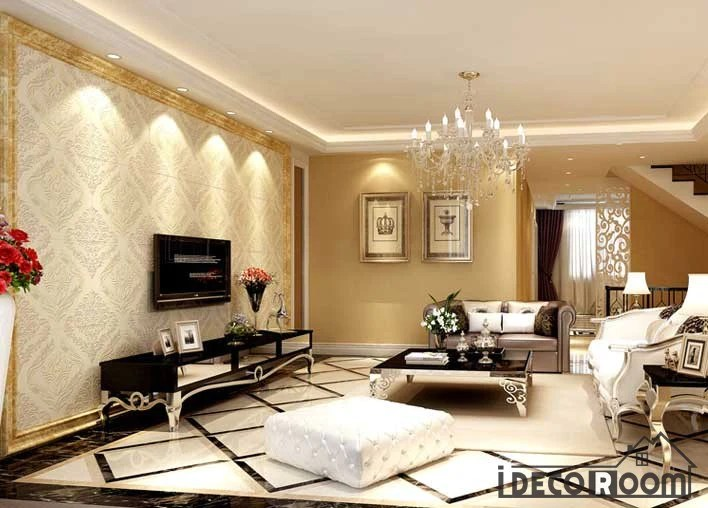 wallpaper living room wall best colors to paint a golden frame fancy pattern art murals tap expand decals prints decor idcwp