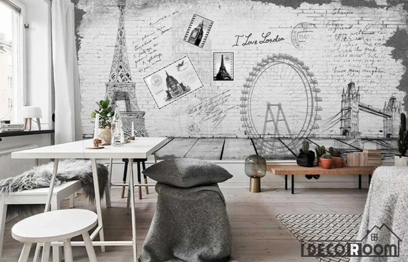 wallpaper living room wall decorative shelves for white drawing eiffel tower london eye bridge art murals decals tap to expand