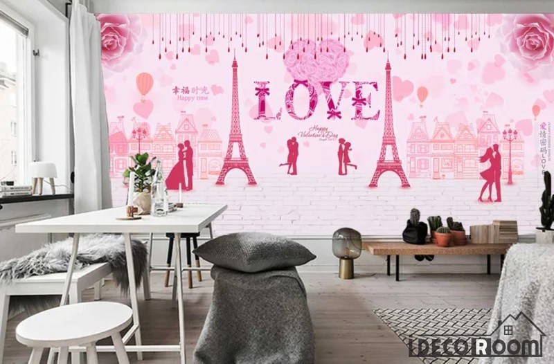 living room art wall decor gray sofa pink drawing eiffel tower love murals wallpaper decals prints idcwp tap to expand