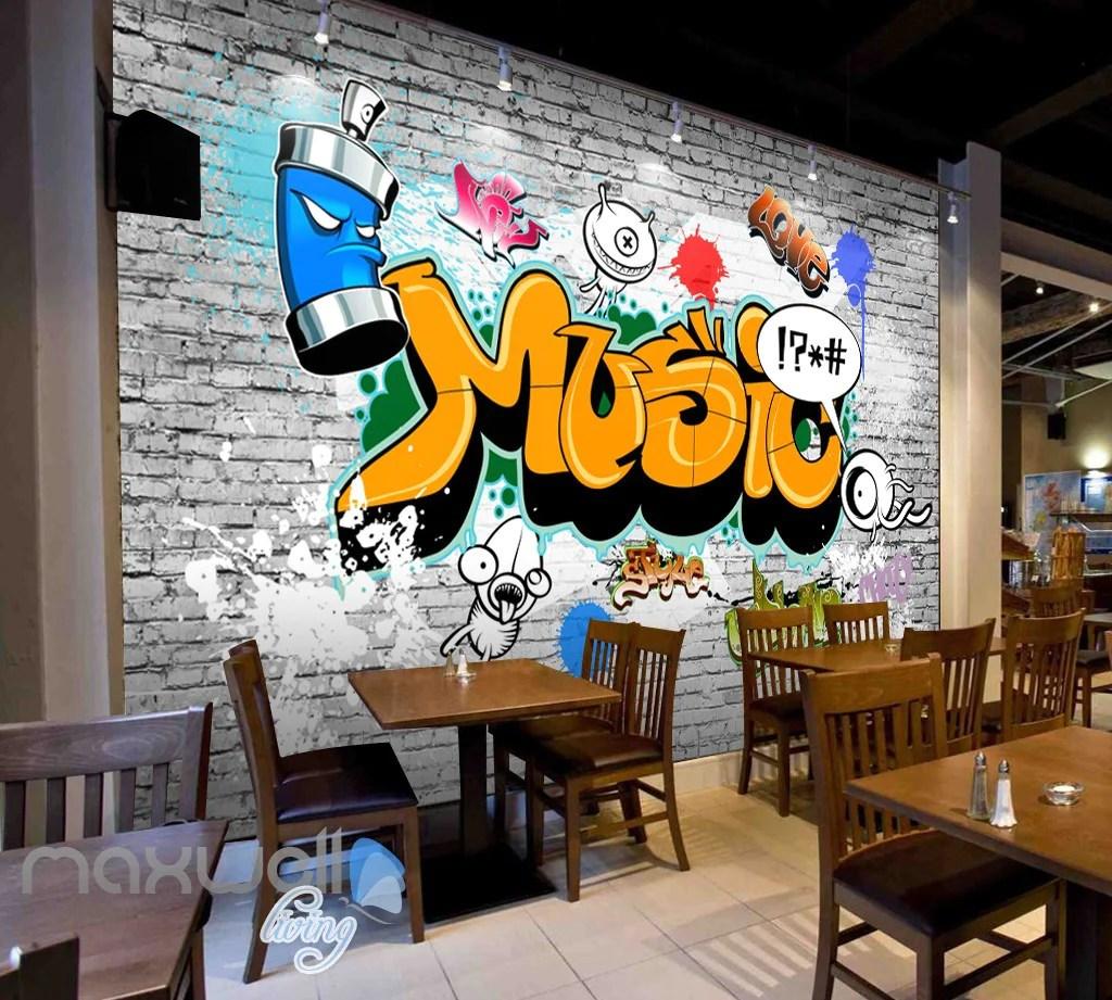 3d Graffiti Music Word Bricks Wall Murals Wallpaper