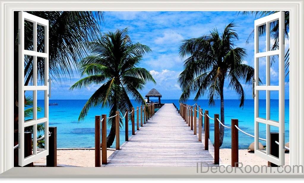 Palm Tree Beach Tropical Ocean Pier 3D Window View