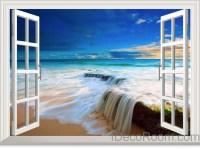 Beach Tide Ocean Cloud Blue Sky 3D Window View Wall Decals ...