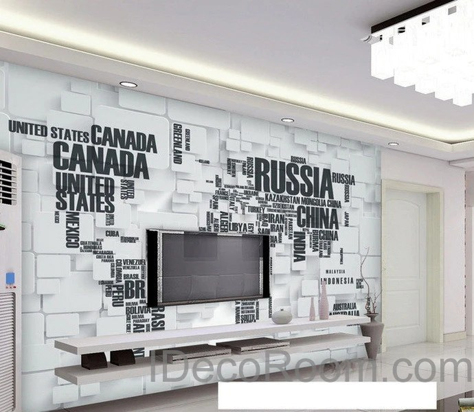 3D Abstract World Map Wallpaper Wall Decals Wall Art Print Wall Mural  IDecoRoom