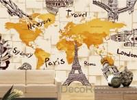 3D Architecture World Map Wallpaper Wall Decals Wall Art ...