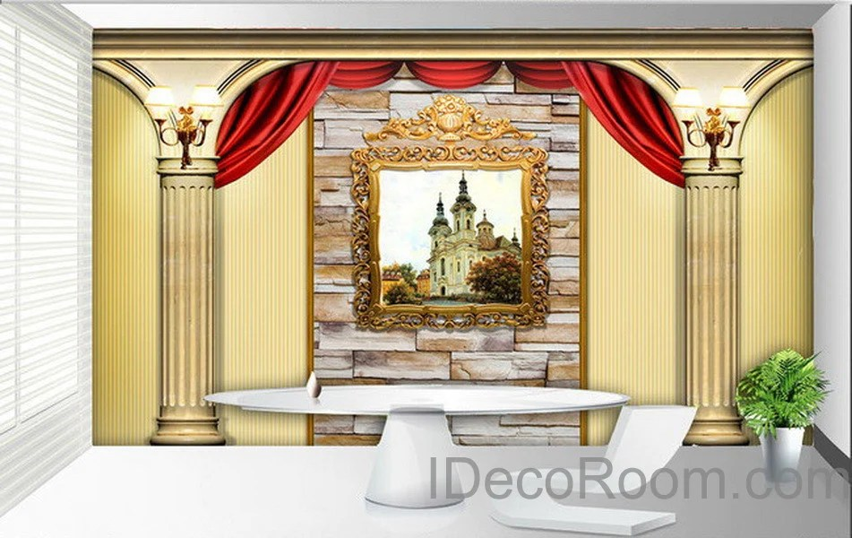 3D Castle Painting Roman Pillars Wall Paper Wallpaper Wall Decals