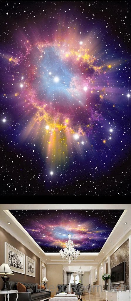 Falling Down Flowers Wallpaper 3d Infinity Galaxy Colorful Nebula Ceiling Wall Mural Wall