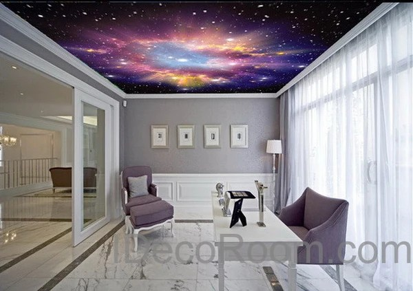 3d Bedroom Wallpaper Uk 3d Infinity Galaxy Colorful Nebula Ceiling Wall Mural Wall