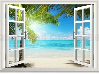 Cheap 3d Brick Wallpaper Large Sunshine Beach Palm Tree 3d Window View Removable