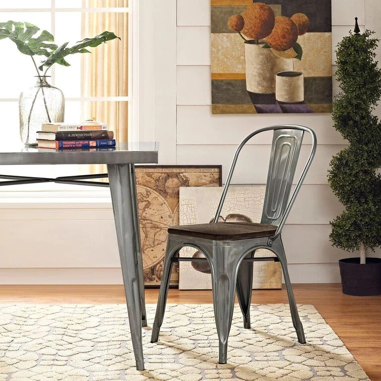 tolix side chair dark brown accent style bamboo dining emfurn