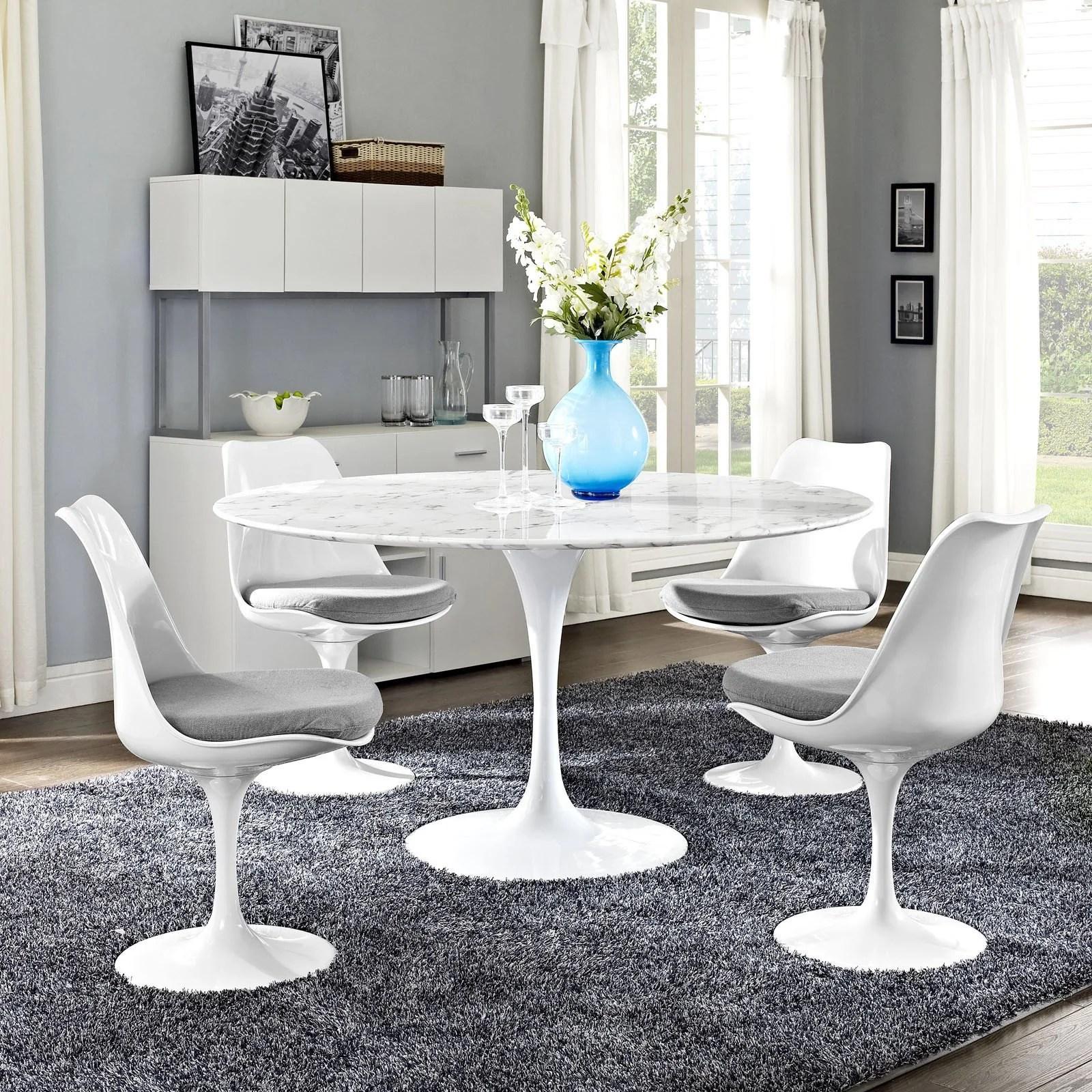 "Tulip Style 54"" Marble Dining Table - Emfurn"