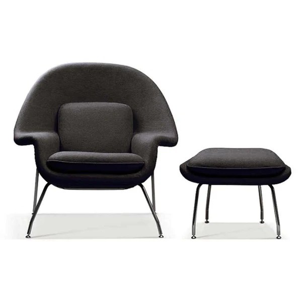 Saarinen Style Womb Chair  Ottoman  EMFURN