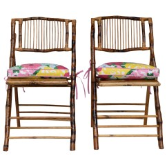 Lilly Pulitzer Chair Black Leather Tufted Cushion On Bamboo Dixie And Grace