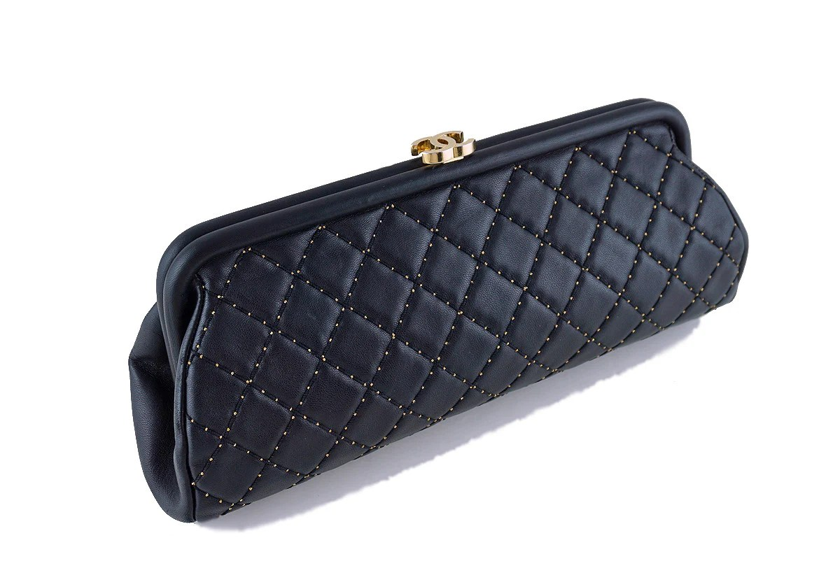 Chanel Limited Black Timeless Quilted Kisslock Gold
