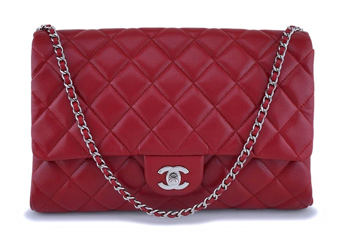 Chanel Red Caviar Classic Timeless Clutch Flap Chain Bag Shw