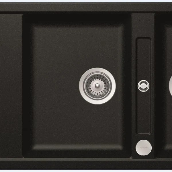 abey schock mono double bowl sink with drainer reversible magma black