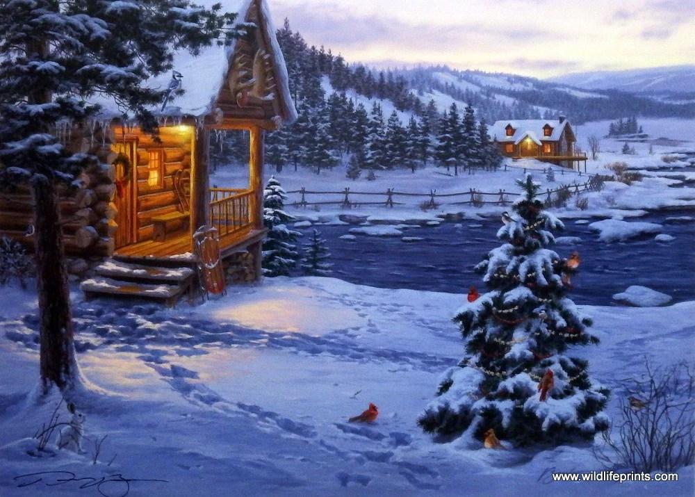 Artist Darrell Bush Unframed Cardinal Holiday Print The